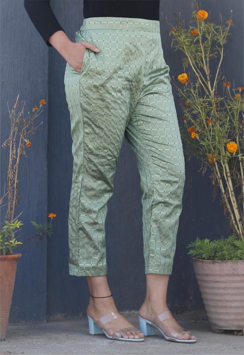 Olive Green White Brocade Silk Ankle Women Check Pant-34318