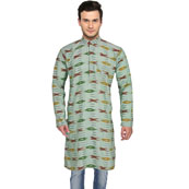 Olive Green Yellow Ikat Cotton Khadi Long Kurta-33160