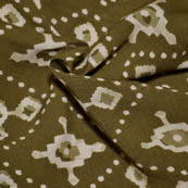 Olive Green and Cream Unique Shape Rayon Fabric-15013