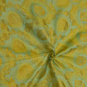 Olive Green and Golden Pot Pattern Soft Brocade Silk Fabric-8121