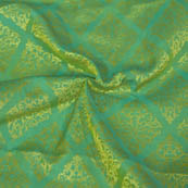 Olive Green and Golden Square Design Brocade Silk Fabric-8006