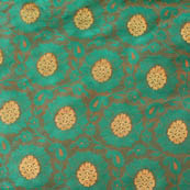 Olive Green and Golden flower shape brocade silk fabric-4650