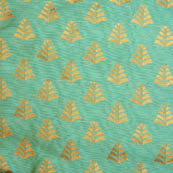 Olive Green and Golden flower shape brocade silk fabric-5050