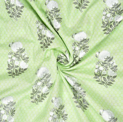 Olive green White Floral Cotton Fabric-28595