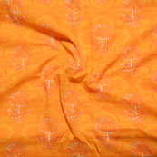 Orange Block Print Cotton Fabric-14608