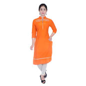 Orange 3/4 Sleeve Embroidered Cotton Kurti-3034