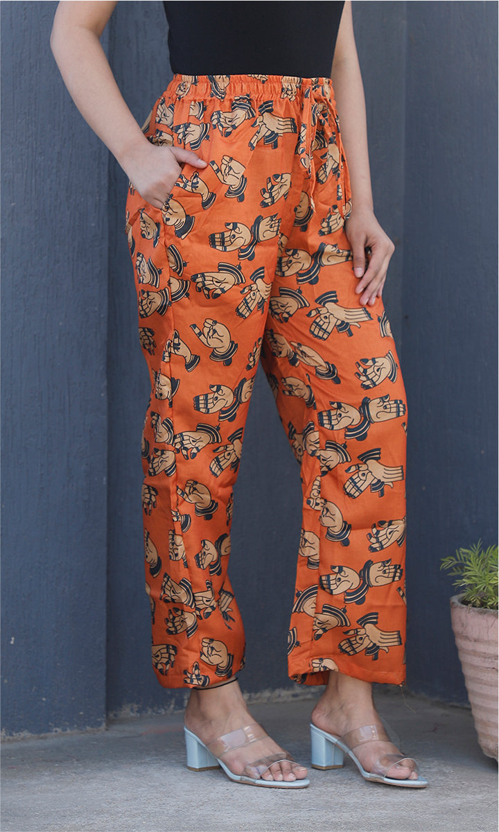 Orange Beige Manipuri Silk Handmudra Palazzo Pant-34503