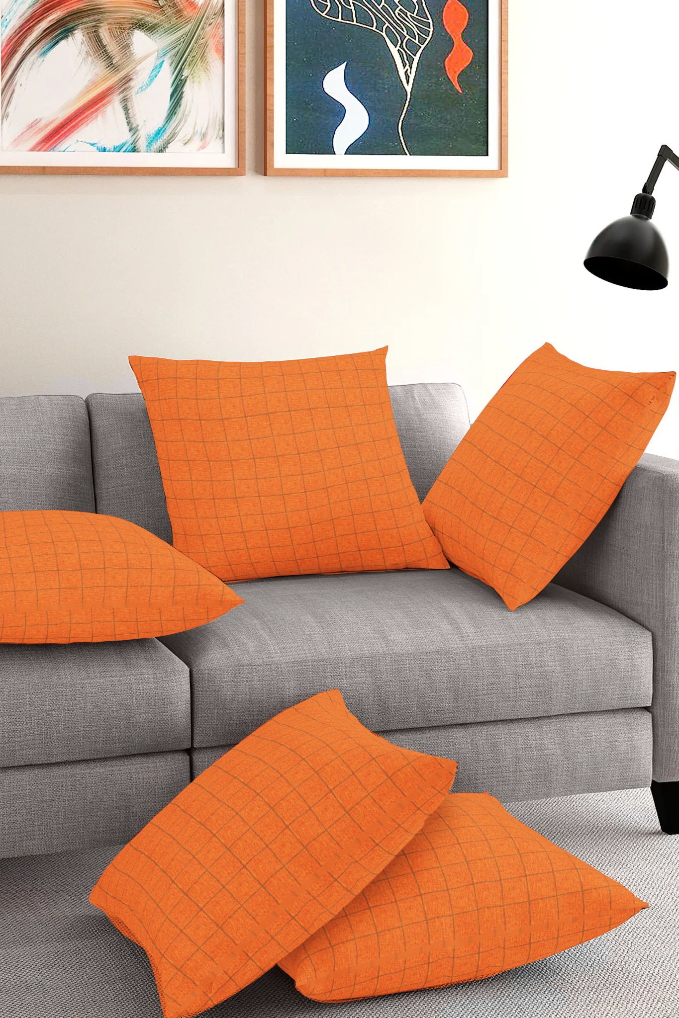 Set of 5-Orange Black Cotton Cushion Cover-35404-16x16 Inches