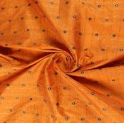 Orange Blue Zari Dot Silk Fabric-9468