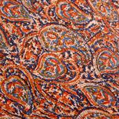 Orange-Blue and Beige Paisley Shape Kalamkari-Screen Fabric-5484