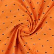 Orange Blue and Golden Zari Dot Brocade Silk Fabric-9252