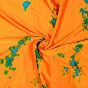 Orange-Blue and Green Batik Satin Fabric-32045