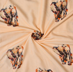 Orange Brown Animal Rayon Fabric-16238