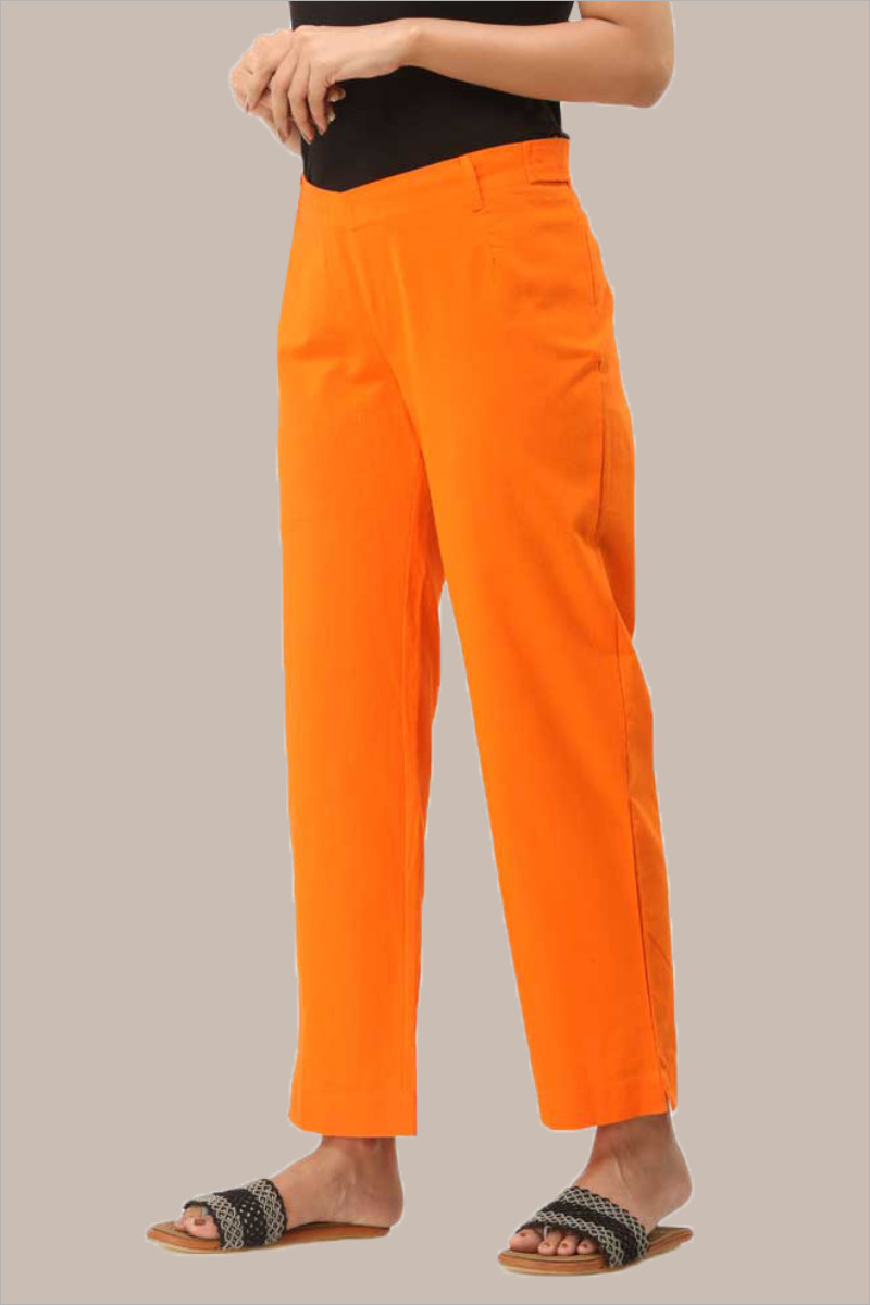 Orange Cotton Ankle Length Pant-33721