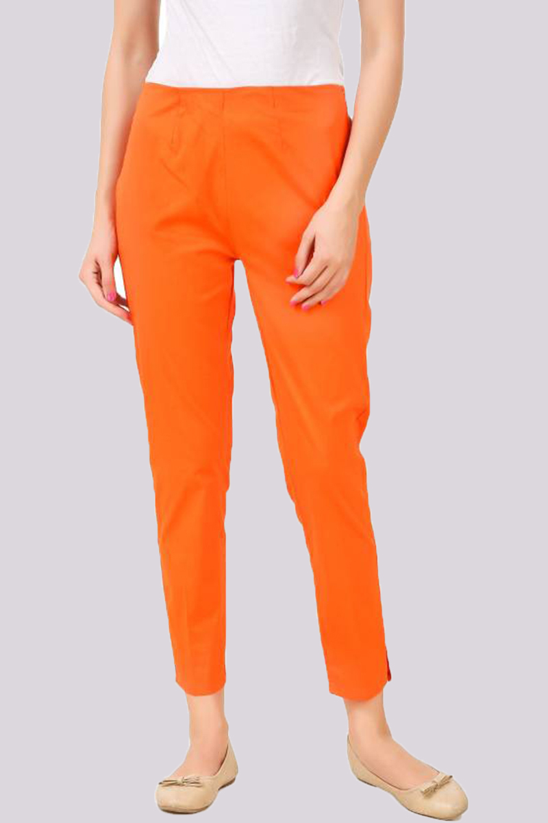 Orange Cotton Flex Pant with Side Chain and Pocket-33392