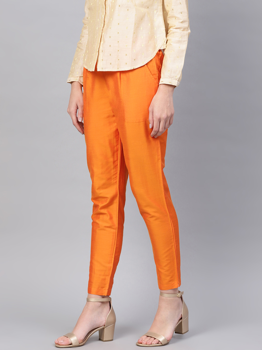 Orange Cotton Silk Ankle Pant-34267