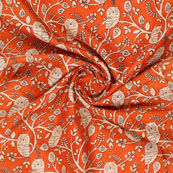 Orange Cream Manipuri Silk Fabric-16407