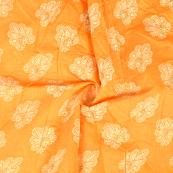 Orange-Cream and Silver Floral Design Chanderi Silk Fabric-9022
