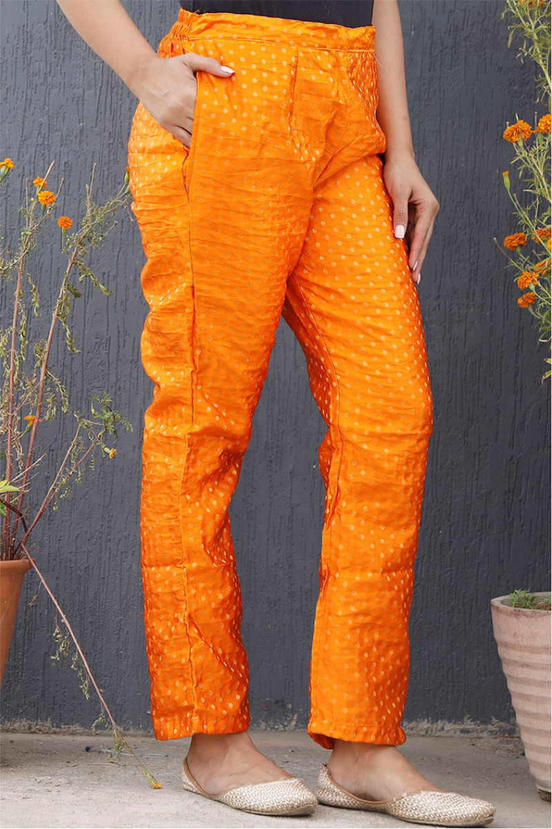 Orange Golden Brocade Silk Ankle Women Pant-34206