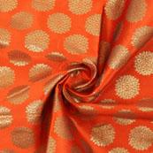 Orange Golden Brocade Silk Fabric-8994