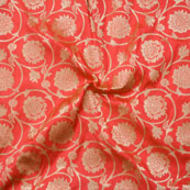Orange Golden Brocade Silk Fabric-9056