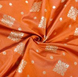 Orange Golden Checks Brocade Silk Fabric-12452