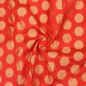 Orange Golden Circle Jacquard Brocade Silk Fabric-9158