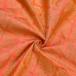 Orange Golden Floral Brocade Silk Fabric-12256