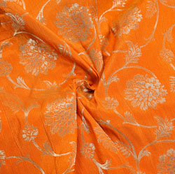 Orange Golden Floral Brocade Silk Fabric-12258