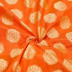 Orange Golden Floral Brocade Silk Fabric-12453