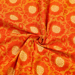 Orange Golden Floral Brocade Silk Fabric-12529