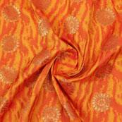 Orange Golden Floral Jacquard Brocade Silk Fabric-9136