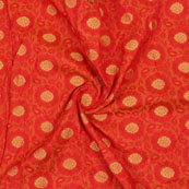 Orange Golden Floral Jacquard Brocade Silk Fabric-9183