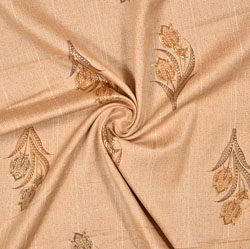 Orange Golden Floral Rayon Fabric-16240