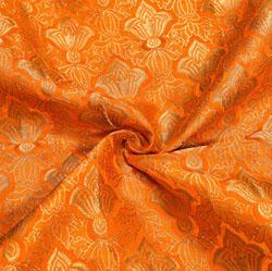 Orange Golden Kinkhab Banarasi Silk Fabric-12021