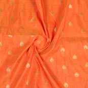 Orange Golden Leaf Brocade Silk Fabric-9233