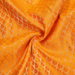 Orange Golden Paisley Brocade Silk Fabric-12376