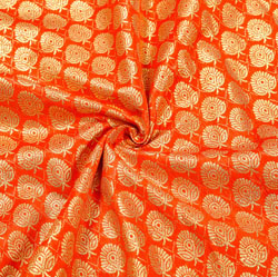 Orange Golden Paisley Brocade Silk Fabric-12487