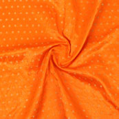 Orange Golden Polka Brocade Silk Fabric-9065