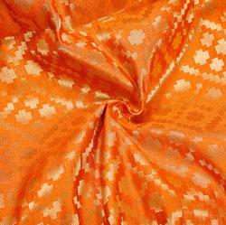 Orange Golden Zig-Zag Brocade Silk Fabric-12446