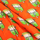 Orange-Golden and Green Jam Cotton Silk Fabric-75112