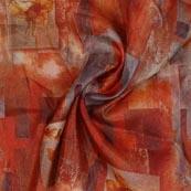 Orange Gray Digital Organza Silk Fabric-51649