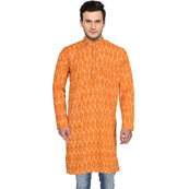 Orange Green Ikat Cotton Khadi Long Kurta-33158