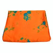 Orange-Green and Blue Batik Satin Fabric-32017