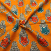 Orange-Green and Cream Kuchipudi Face Design Kalamkari Manipuri Silk-16078