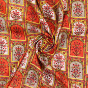 Orange Green and Yellow Manipuri Silk Fabric-16411