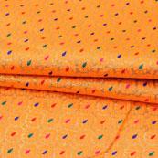 Orange Multicolor Floral Jacquard Brocade Silk Fabric-9134