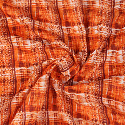 Orange Orange Block Print Cotton Fabric-16007