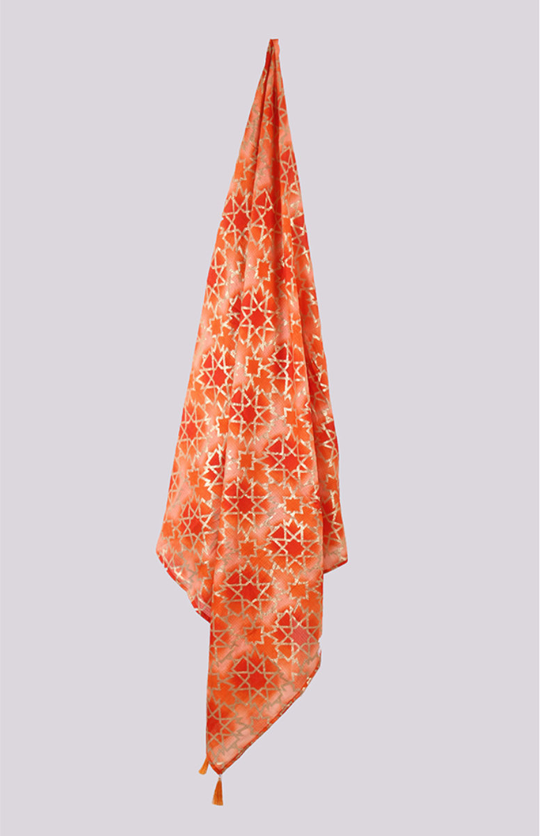 Orange Peach Digital Printed Kota Doria Dupatta with Tassel-33427