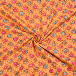 Orange Pink and Green Floral Cotton Fabric-28114